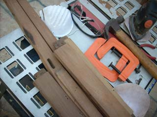 Sanding wooden chair parts